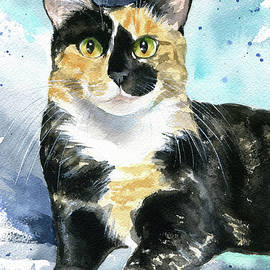 Calypso Calico Cat Painting by Dora Hathazi Mendes