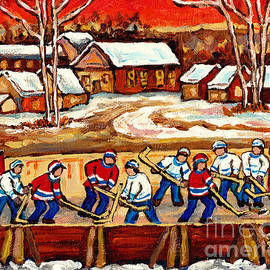 Canadian Landscape Outdoor Hockey Rink Village Scene Hand Painted Art For Sale C Spandau Winterscene by Carole Spandau