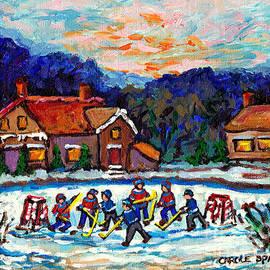 Canadian Winter Village Pond Hockey Game Quebec Winter Landscape Snow Scene Painting C Spandau Art by Carole Spandau