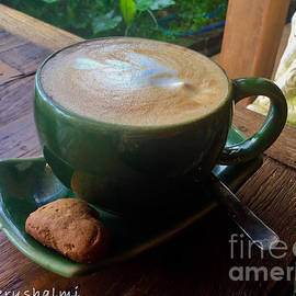 Cappuccino with Cookie in Green cup set by Noa Yerushalmi