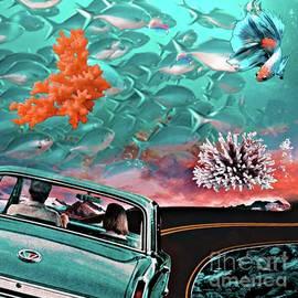 Car in aquarium by Laurence Stefani