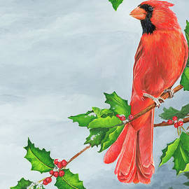 Cardinal in Winter Holly  by Mary Anne Pellegrini
