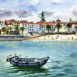 Cascais Praia Da Ribeira Painting by Dora Hathazi Mendes
