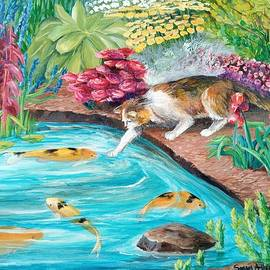 Cat and Koi Pond Fishing by Sonya Allen