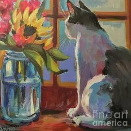 Cat in a sunny window by Lorraine Danzo