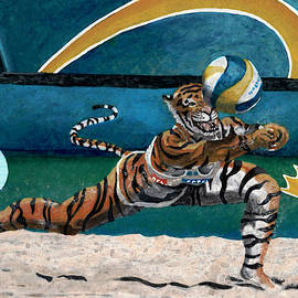 Cat Warrior Playing Beach Volleyball by Ted Helms