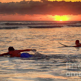 Catching A Sunset Wave by Bob Christopher