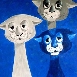Cats dreaming with open eyes by Rita Droleting with open eyes Cat Trio in blue