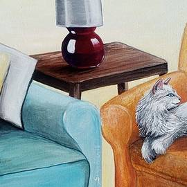 Cats on Couch Painting Sonya Allen by Sonya Allen