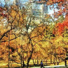 Central Park jogging path in autumn by Geraldine Scull