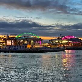CenturyLink Field and T-Mobile Park at Sunrise by Jerry Abbott