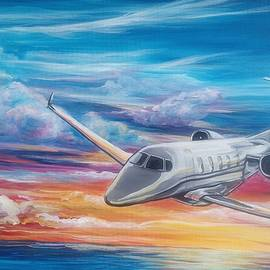 Cessna Citation Jet Airplane Sunset Painting by Sonya Allen