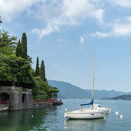 Charismatic Varenna Lake Como Italy - Boats Moored by the Lovers Promenade by Georgia Mizuleva