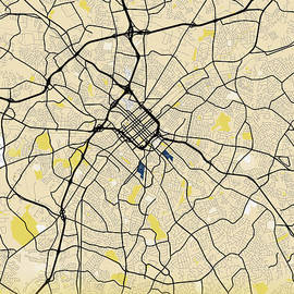 Charlotte - United States Yellow City Map by Tien Stencil