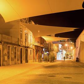 Charming Faro Algarve Portugal - Golden Yellow Streetlights and Cool Canvas Awnings by Georgia Mizuleva