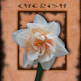 Cherish - Framed Daffodil with Black Edge by Patti Deters
