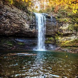 Cherokee Waterfall Framed by Golds by Debra and Dave Vanderlaan