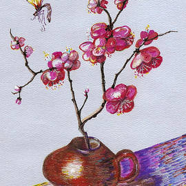 Cherry blossom and Moth by Irina Davis