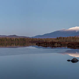 Cherry Pond Blue Hour Moonrise Panorama by Chris Whiton
