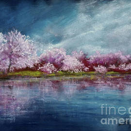 Cherry Tree Spring Reflection by Zan Savage