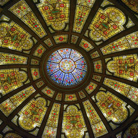 Chicago City View Architectural Lines Cultural Center Dome Ceiling 02 by Thomas Woolworth