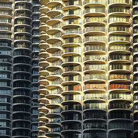 Chicago City View December Architectural Lines Marina City Balconies 02 by Thomas Woolworth