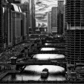 Chicago City View December Tour Boat Ride BW Vertical HDR by Thomas Woolworth