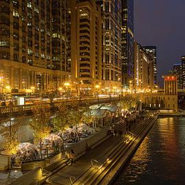 Chicago Riverwalk Restaurants at Night by Lindley Johnson
