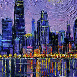 CHICAGO SKYLINE textured palette knife oil painting Mona Edulesco by Mona Edulesco