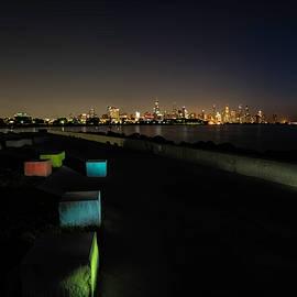 Chicago skyline with light painted blocks by Sven Brogren