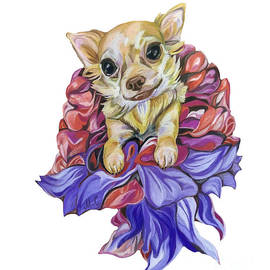 Chihuahua in the Dress Made of Flowers by Maria Sibireva