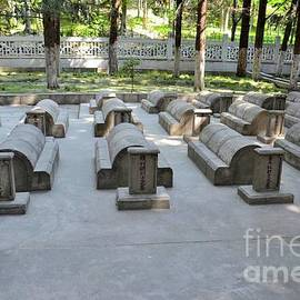 Chinese Cemetery with graves and tombs of Chinese soldiers on Karakoram Highway Gilgit Pakistan by Imran Ahmed