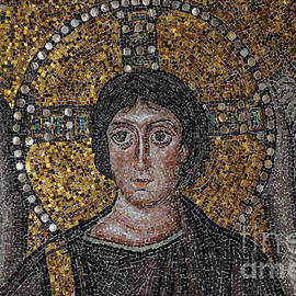 Christ the Redeemer flanked by the feathered wings of archangels - 6th century Byzantine mosaic by Terence Kerr