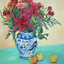 Christmas Bouquet with Garden Apples by Asha Carolyn Young