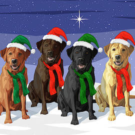 Christmas Dogs Red Chocolate Black Yellow Labrador Retrievers by Crista Forest