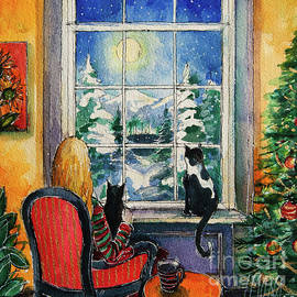 CHRISTMAS EVE AT THE WINDOW watercolor painting Mona Edulesco by Mona Edulesco