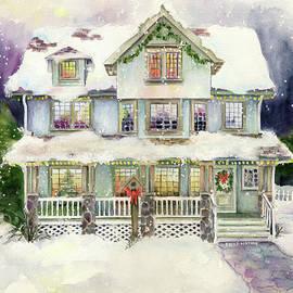 Christmas Eve Holiday Winter House Watercolor by Paula Nathan