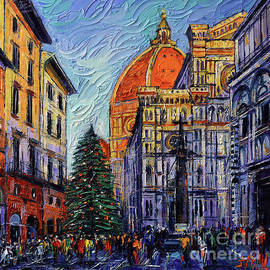 CHRISTMAS IN FLORENCE textured impressionism knife oil painting Mona Edulesco  by Mona Edulesco