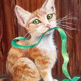 Christmas Kitten With Green Ribbon by Sonya Allen