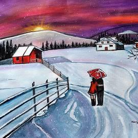 Christmas Romance in the  snow acrylic winter painting by Manjiri Kanvinde