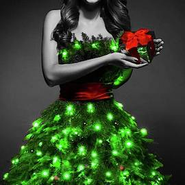 Christmas Tree Dress Bearing Gifts by Teresa Trotter