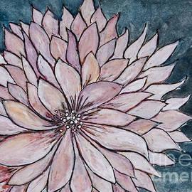Chrysanthemum on Blue - Painting by Patty Donoghue