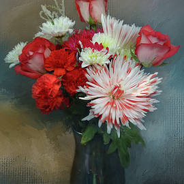 Chrysanthemum White and Red by Isabela and Skender Cocoli