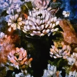 Chrysanthemums in Black Vase by Francesca Schomberg