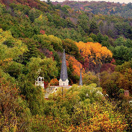 Church Spires Announce the Foliage in Vermont by Nancy Griswold