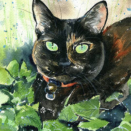 Chutney Tortie Cat Painting by Dora Hathazi Mendes