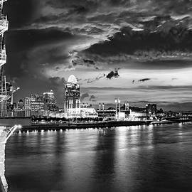 Cincy Skyline at Dawn From The Roebling Bridge - Black and White by Gregory Ballos