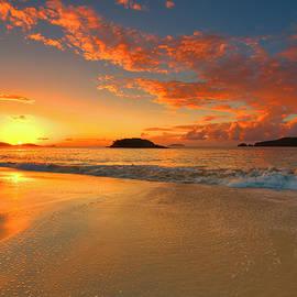 Cinnamon Bay Sunset Reflections - St. John by Stephen Vecchiotti
