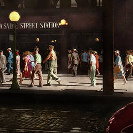 City - Chicago IL - Five o'clock crowd 1941 by Mike Savad