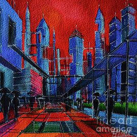 CITY OF THE FUTURE commissioned watercolor painting Mona Edulesco by Mona Edulesco